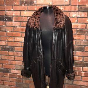 Christian Dior Vintage Leather Fur Winter Jacket